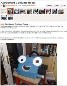 Cardboard racing costume